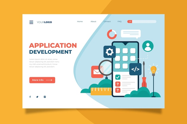 App development landing page template Free Vector