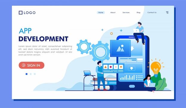 App development landing page website illustration vector design Premium Vector