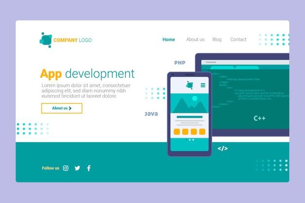 アプリ開発-ランディングページ Premiumベクター