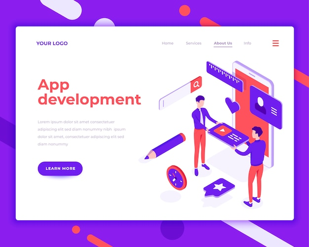 App development teamwork people and interact with mobile phone isometric vector illustration Premium Vector