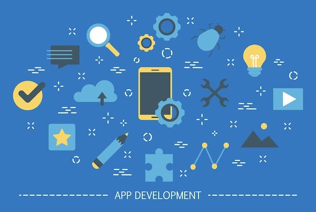 アプリ開発のウェブバナー。サポートおよび開発チーム Premiumベクター