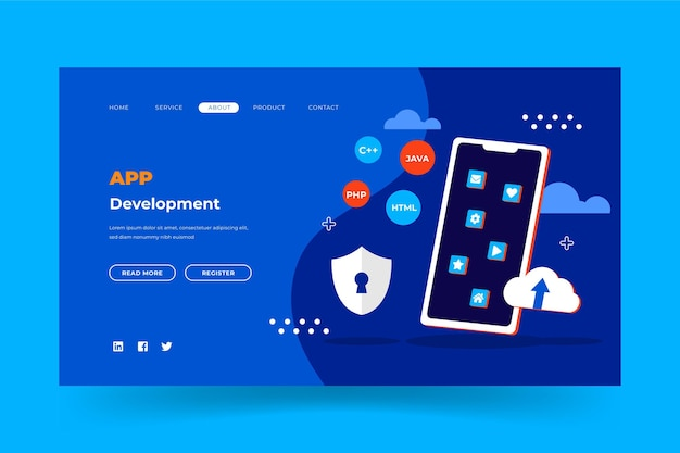 Modello di pagina web per lo sviluppo di app Vettore gratuito