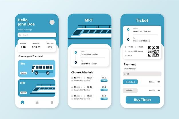 公共交通機関テンプレート用のアプリ 無料ベクター
