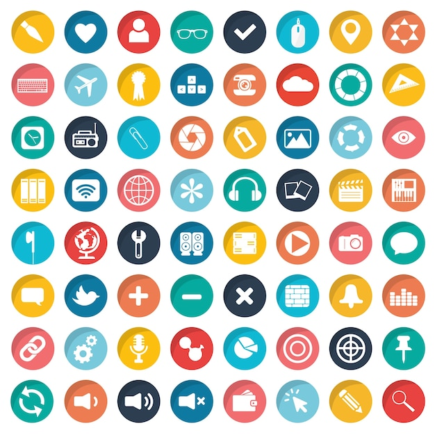 App icon set for websites and mobiles Free Vector