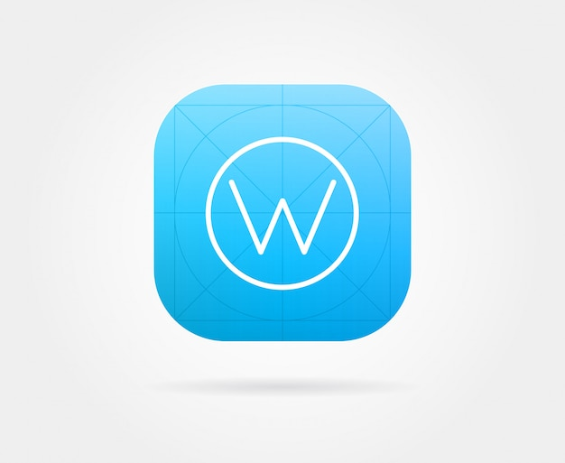 App icon template with guidelines.  fresh colour Premium Vector