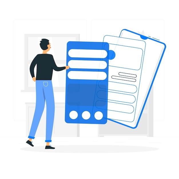 Concetto dell'illustrazione dell'installazione di app Vettore gratuito