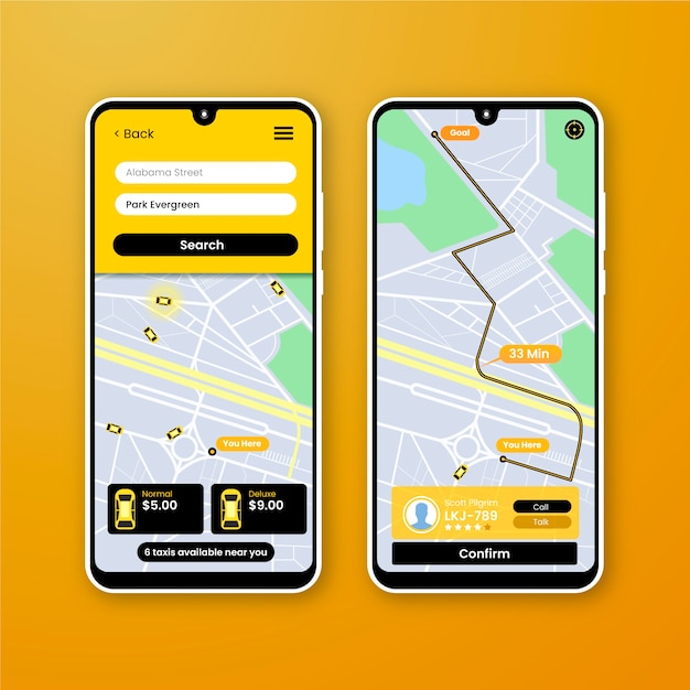 App interface for taxi Free Vector