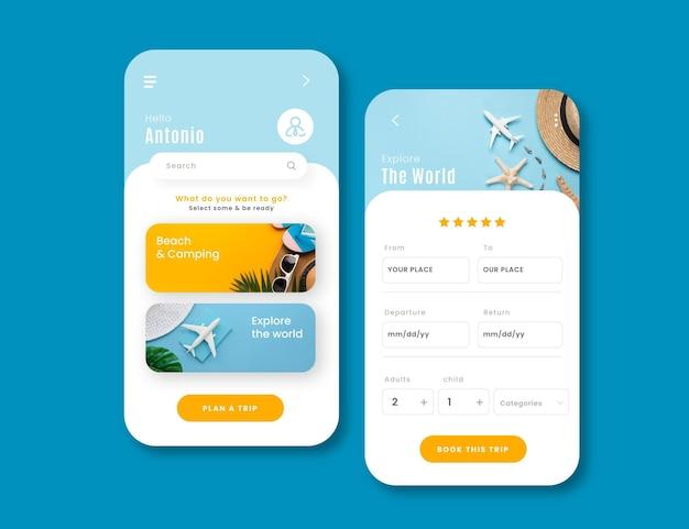 旅行予約のアプリインターフェイステンプレート 無料ベクター
