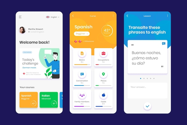 App to learn languages Free Vector