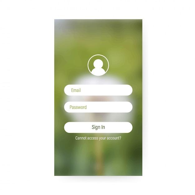 App login screen Premium Vector