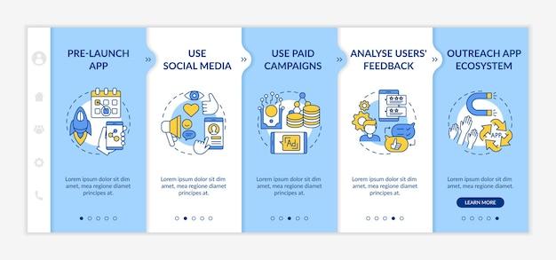 App marketing tips on boarding  template. pre release launch app. using social media. Premium Vector
