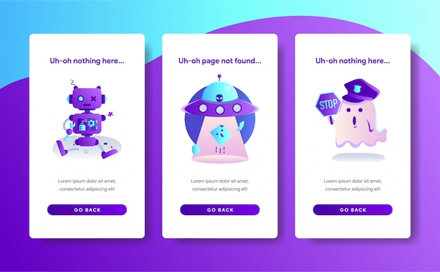 App page template of 404 error design Premium Vector