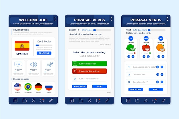 App screens to learn languages Free Vector