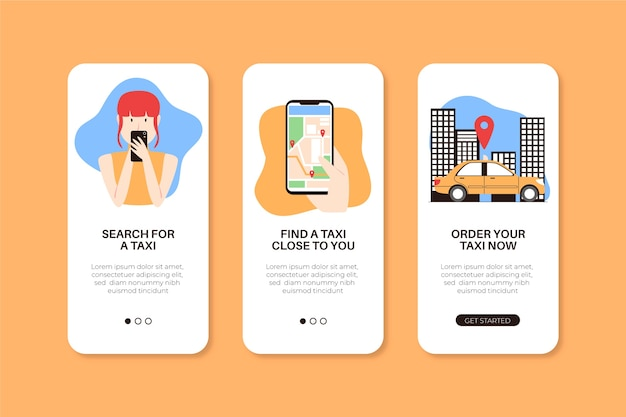App screens for taxi service Free Vector