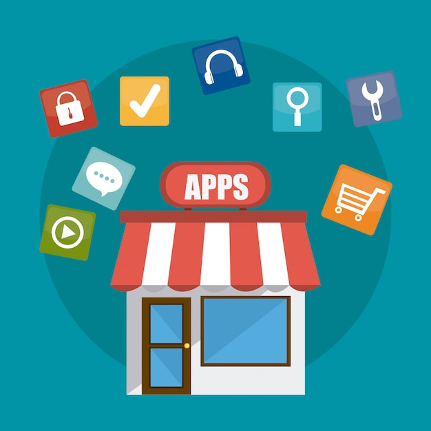 App storeのデジタルデザイン。 Premiumベクター
