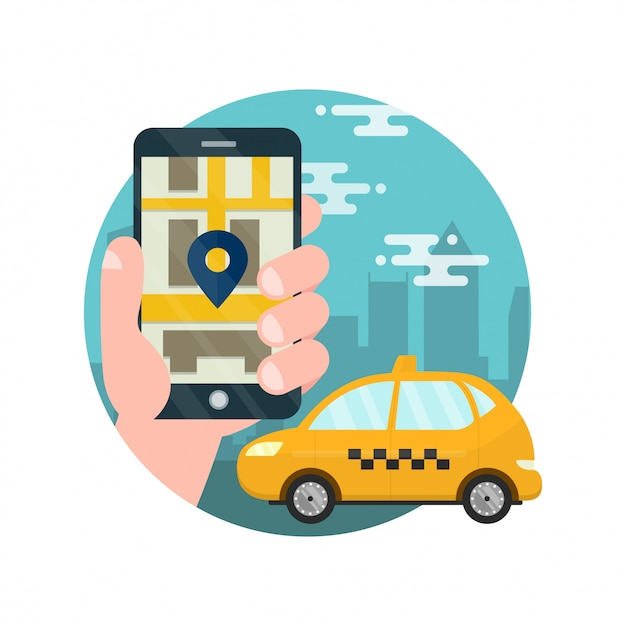 App for taxi.man holds hand with smartphone. application for calling taxi. Premium Vector