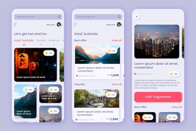 App template for travel booking Free Vector