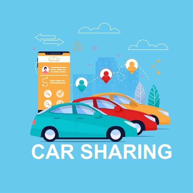 Автомобильный транспорт аренда app. Premium векторы