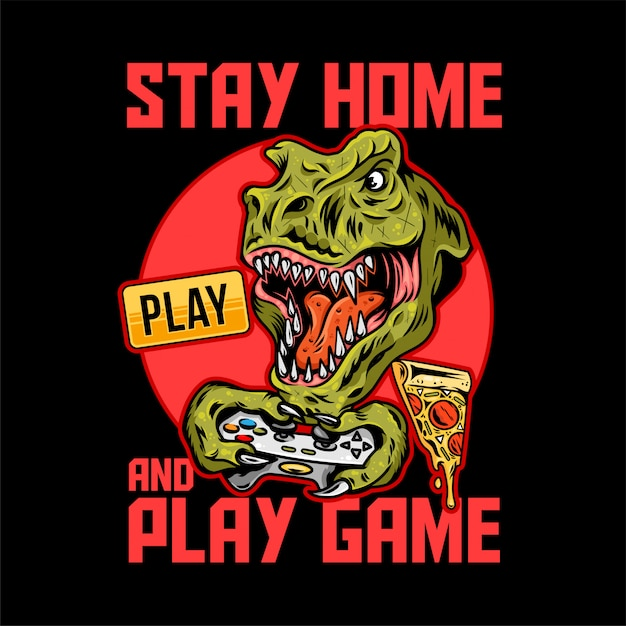 Apparel print design for gamer and geeks with t-rex angry dinosaur which play video game on joystick gamepad and with quarantine message. Premium Vector