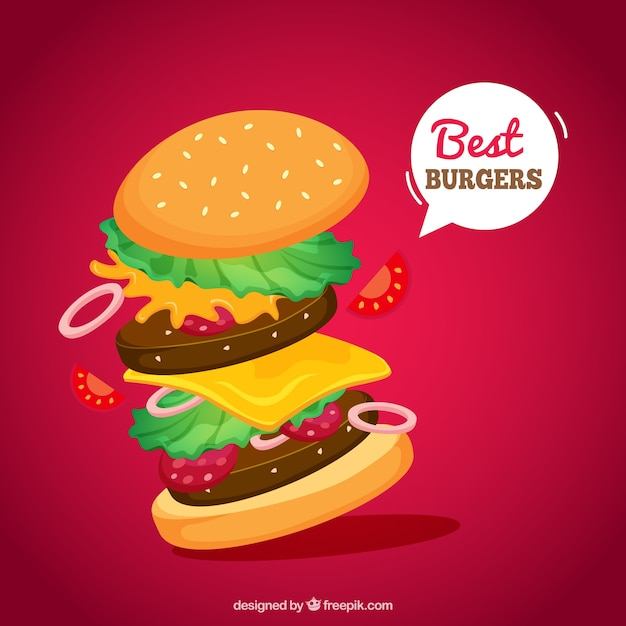 Аппетитный бургер в плоском исполнении Бесплатные векторы