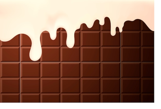 Appetizing flowing cream on the sides of a chocolate cake background Premium Vector