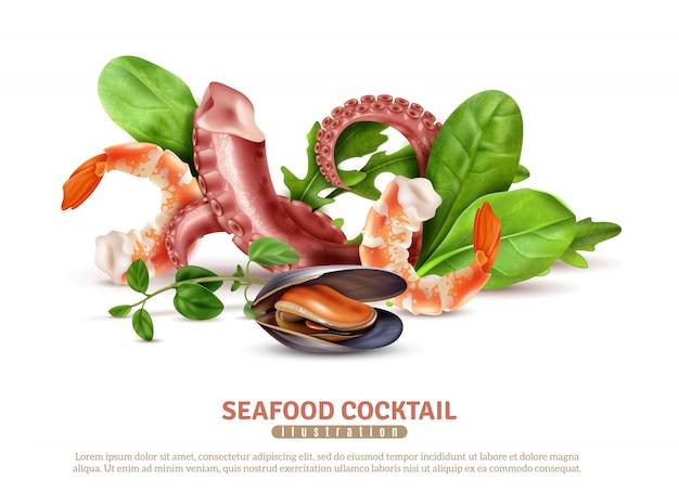 Аппетитные морепродукты коктейль ингредиенты крупным планом реалистичная композиция плакат с креветками осьминога щупальцами мидии листья базилика Бесплатные векторы
