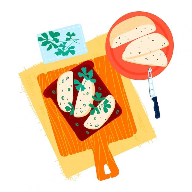 健康的な緑の芝生と食欲をそそるトーストパン、クルトンレイアウトキッチンまな板クリーミーバターコンセプト白、漫画イラストで隔離。 Premiumベクター
