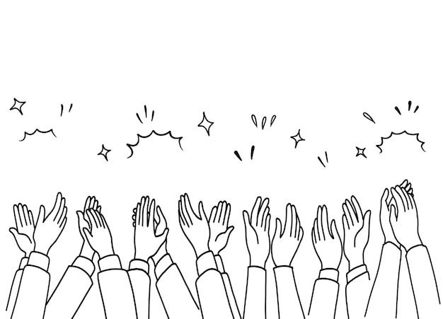 Аплодисменты рука ничья, человеческие руки аплодисменты. Premium векторы