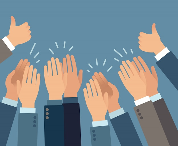 Applause. hands clapping applause gestures, congratulation audience appreciation success greeting approve   concept Premium Vector