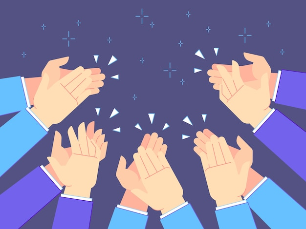 Applause hands. hand claps, applauding congratulations and success clapping  illustration Premium Vector