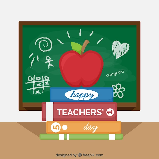 Apple and books, world teachers ' day Free Vector