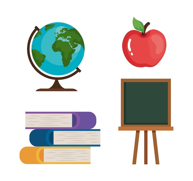 Apple books green board and world sphere design, happy teachers day celebration and education theme Premium Vector