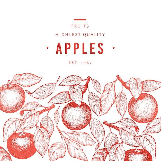 Apple, филиал шаблон. нарисованная рукой иллюстрация плодоовощ сада. фруктовая рамка с гравировкой. ретро ботанический баннер. Premium векторы