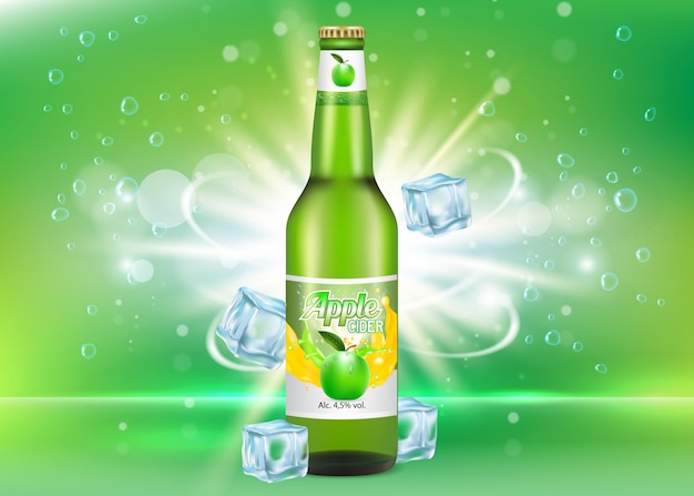 Apple cider bottle package realistic mockup Premium Vector
