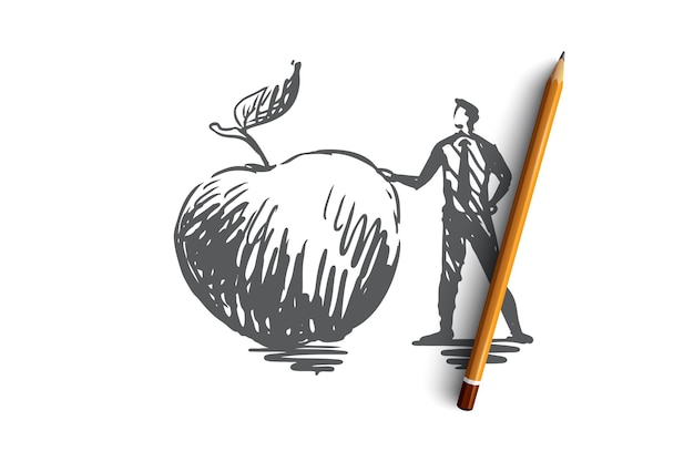 リンゴ、食品、果物、新鮮なオーガニックのコンセプト。手描きの男と大きなリンゴのコンセプトスケッチ。図。 Premiumベクター
