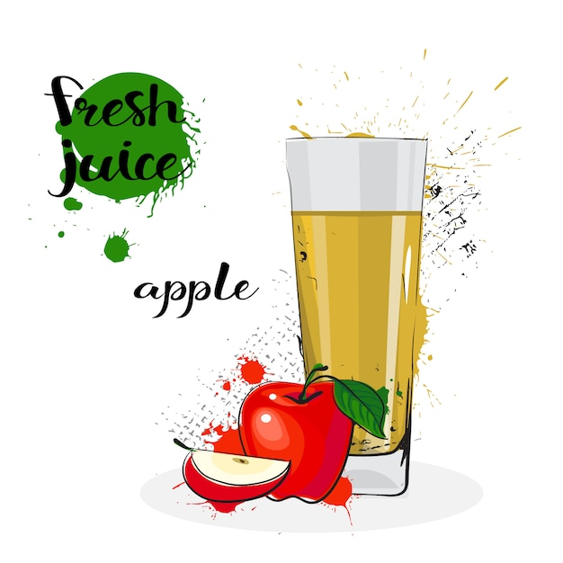 Apple juice fresh hand drawn watercolor fruit and glass on white background Premium Vector