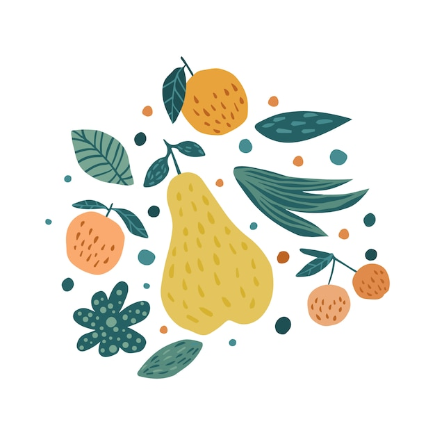 Apple, pear, cherry berries and leaves on white. hand draw fruits print. Premium Vector