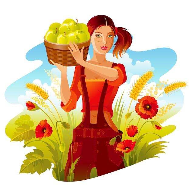 りんご狩り。アップルバスケットと美しい農場の少女。秋の風景、小麦ケシ畑。かわいい漫画のスタイル Premiumベクター