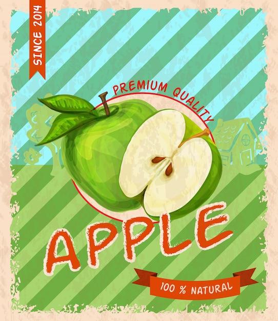 Apple retro poster Free Vector