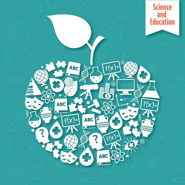 Apple-shaped background about science and education Free Vector