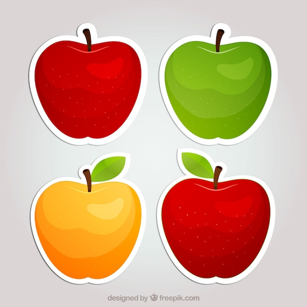 Apple stickers Premium Vector