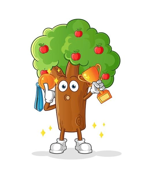 트로피와 메달을 가진 사과 나무 우승자. 만화 캐릭터 프리미엄 벡터