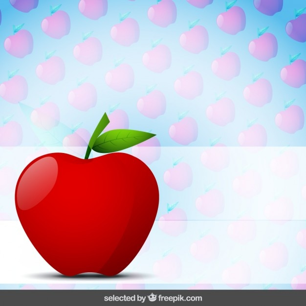 Apple with apples background Free Vector
