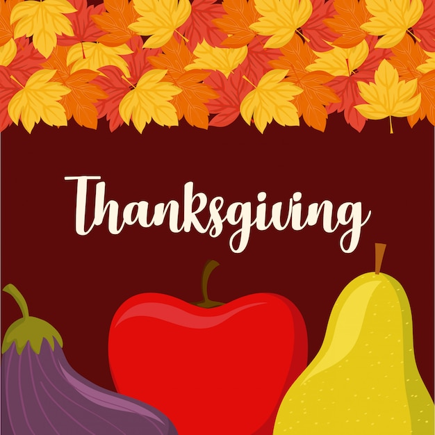 Apple with pear and eggplant thanksgiving Premium Vector