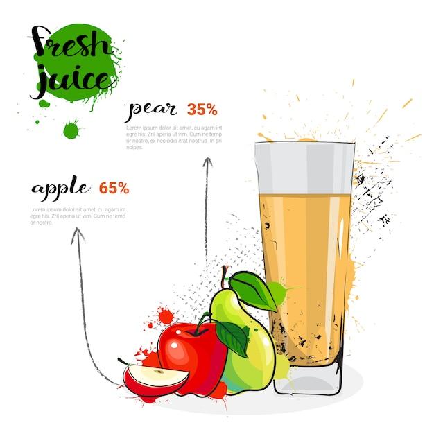 Apple, груша микс коктейль из свежевыжатого сока рисованной акварельные фрукты и стакан на белом фоне Premium векторы