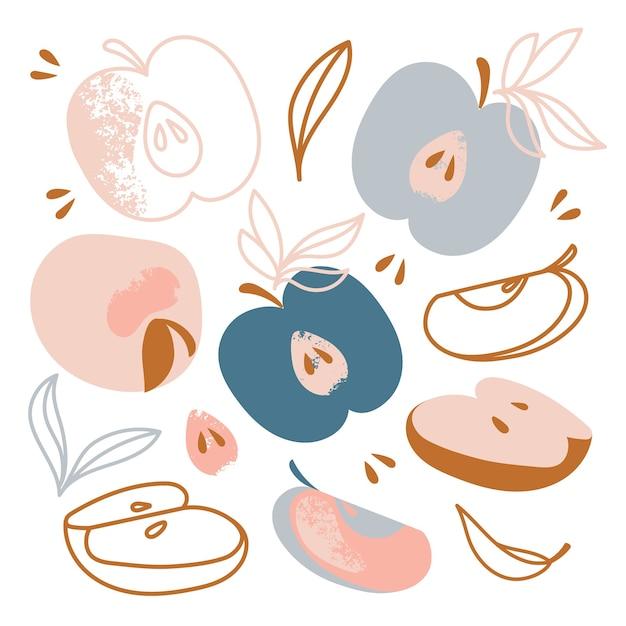 Applesおいしい甘いフルーツガーデン野菜の自然手描きフラットデザイン漫画クリップアート Premiumベクター