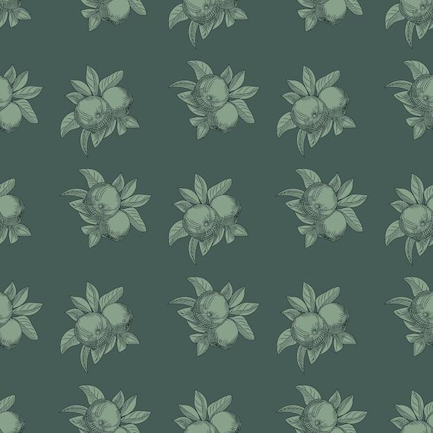 リンゴのシームレスなパターン。ヴィンテージの植物の壁紙。ヴィンテージスタイルの彫刻。 Premiumベクター