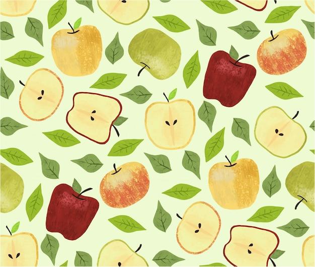 Apples seamless pattern Premium Vector