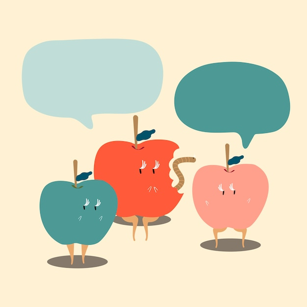 Apples with blank speech bubbles cartoon character vector Free Vector