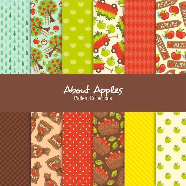 Applesパターンコレクションについて Premiumベクター
